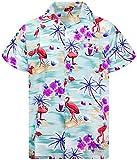 King Kameha Funky Chemise Hawaienne, Flamingos, Vert, M