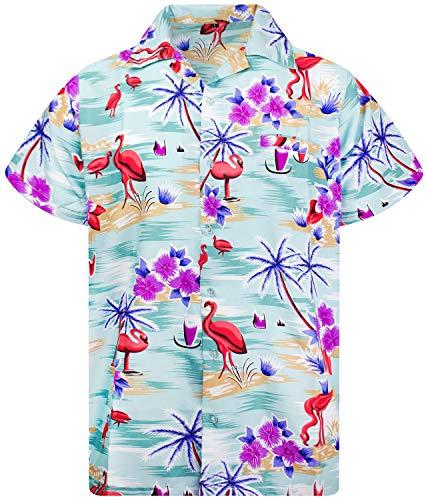 King Kameha Funky Hawaiihemd, Kurzarm, Flamingos, Grün, L