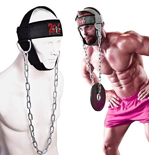 2Fit, imbracatura da testa regolabile con catena, da sollevamento pesi per l'allenamento del collo