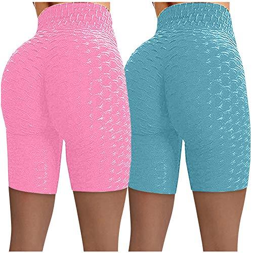 2 Stück Shorts Damen Sports Leggings Tie Dye/Einfarbig Tights Sport Kurze Hosen Anti Cellulite Hohe Taille Sportleggins Sexy Booty Push Up Laufshorts Fitness Yoga Hose