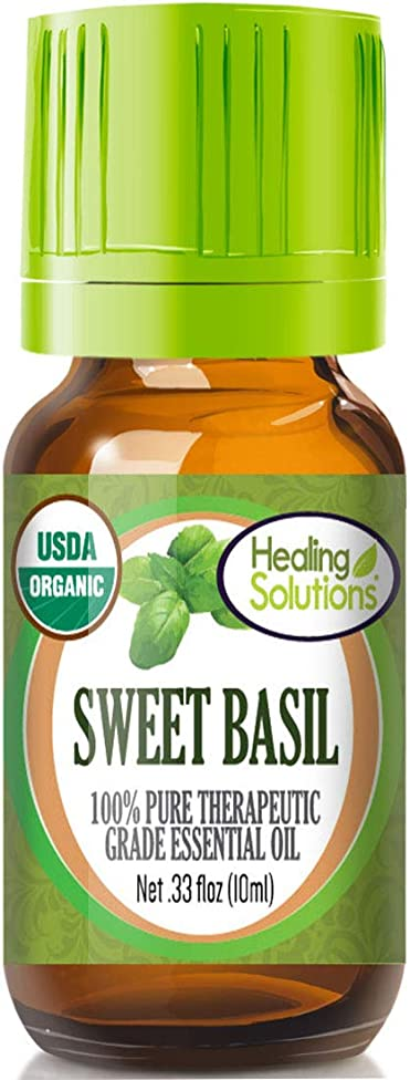 Organic Sweet Basil Essential Oil (100% Pure - USDA Certified Organic) Best Therapeutic Grade Essential Oil - 10ml