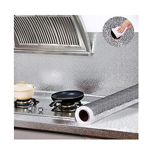 duquanxinquan Aufkleber Küchen Wandaufkleber Aluminium Folie Selbstklebende Spritzschutz Wasserdicht Anti-Schimmel Öl Resistent für Küchen, Schrank, Möbel 60x100cm