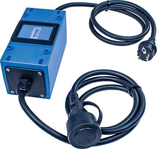 as - Schwabe MIXO Stromzähler/Zwischenzähler – Zwischenstecker Box 230 V – Rücklaufsperre – Schuko-Stecker und Kupplung – IP44 – Made in Germany I 61747, Blau