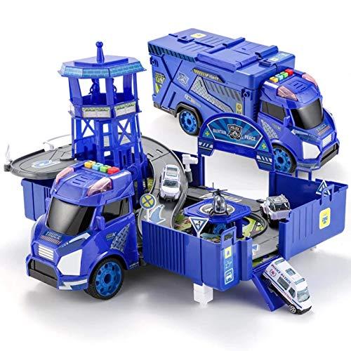 El juguete favorito del bebé, gran regalo para los Estacionamiento Garaje Garaje Juguete Policía Policía Ingeniería Aleación Miniatura Carrera Car Truck Crane Diecast Modelo Juguete para niños