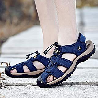 2019 Fashion Summer Beach Breathable Men Sandals Genuine Leather Men's Sandal Man Causal Shoes Plus Size 38-47(Green,42)
