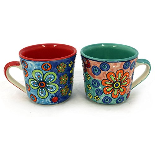 Gall&Zick XL Tasse Kaffeetasse Teetasse Geschirr Keramik Bemalt Bunt Groß Set/2