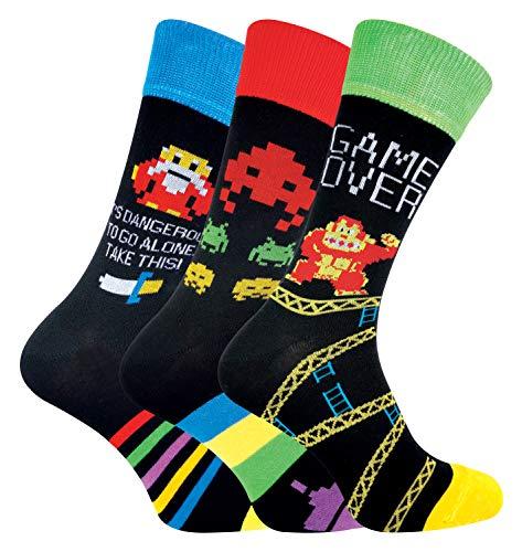 Sock Snob Calcetines Divertidos Hombre   Calcetas Videojuegos   3 Pares (39-45, Zelda/DK/Space Invaders)