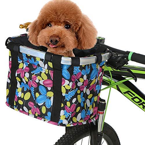 Lixada Cestino Pieghevole per Bicicletta, Cestino della Bicicletta Staccabile Pieghevole per Gatti e Animali Domestici con Manubrio Rimovibile e Tasca Anteriore
