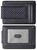 Toughergun Genuine Leather Magnetic Front Pocket Money Clip Wallet RFID Blocking(Weaved Black Top Notch)