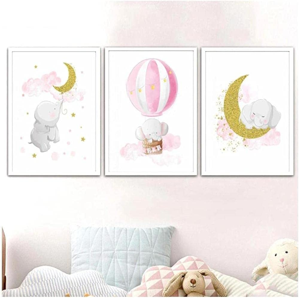 ZGWEI Pink and Gold Elephant Moon Ranking TOP8 a Balloon Poster Max 54% OFF Hotair Canvas
