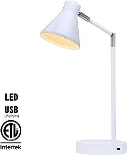 O'Bright LED Desk Lamp with USB Charging Port, 100% Metal Lamp, 270° Flexible Swivel Arms, Soft White LED Reading Light (3000K), Bedside Reading Lamp, Office Lamp, Table Lamp, ETL Listed, White