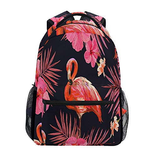 Rucksäcke Schöne Flamingo Palme Blumengeschenk Umhängetasche Schulreise Spezielle Retro College Daypack Vintage Teens Leichte, Lässig Bedruckte Student Bookbag Durable Backpack