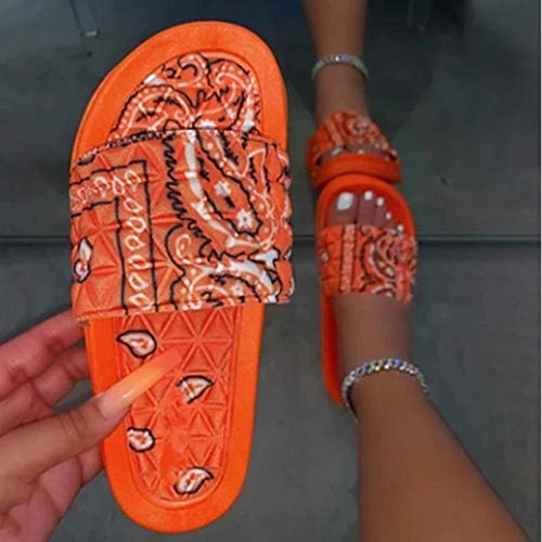 ypyrhh Duschstrand & Pool Schuhe,Blumensatin Strandschuhe-orange_38,Ergonomische Flip-Flops Zehensandalen thumbnail