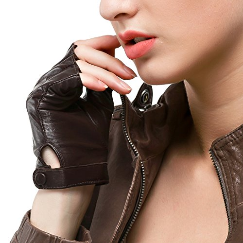 Nappaglo Fingerlos Lederhandschuhe Damen Autofahrer Sommer Motorrad Handschuhe, Braun, M (UmfJahrg der HJahrdfläche:17.8-19.0cm)
