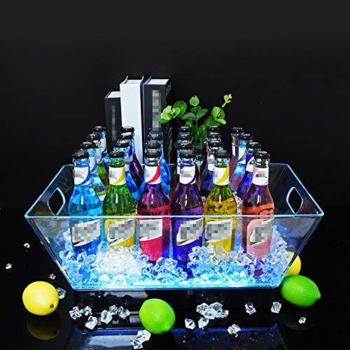 NAY Secchiello per Il Ghiaccio,Raffredda Bottiglie,Portaghiaccio Luminoso in Plastica,per Champagne Vino Bevande Birra Ice Cooler Bar Party