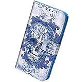 Custodia per Huawei Enjoy 7S/P Smart Pelle, Herbests Flip Stand Case Cover Huawei Enjoy 7S Belle Colorate del 3D Disegno Copertura con ID Slots Chiusura Magnetica Wallet Cover,Cranio Nuvola