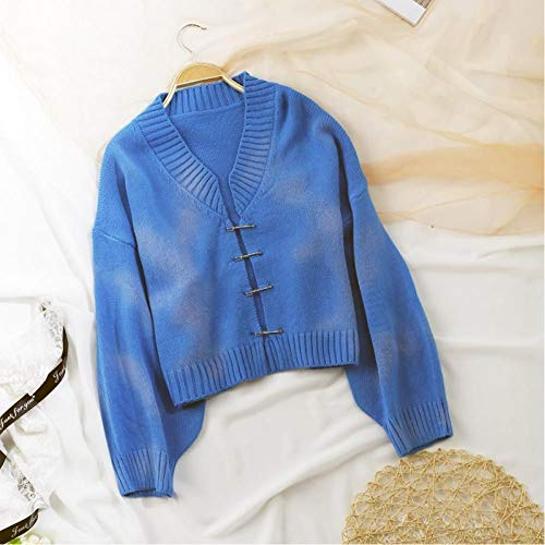TQSDYY Autumn New Ladies Dye Sweater Retro Yellow-Green Pullover Fashion Brooch Casual Cardigan Sweater