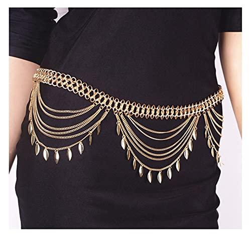 Cinturón de cadena de cintura para el vientre de Egipto para la playa de verano de la India (color metálico: oro)