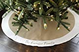 """Personalized 54"""" Christmas Tree Skirt in Natural Burlap with Ivory/Cream or White..."""