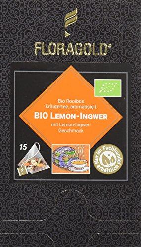 FLORAGOLD Pyramidenbeutel rotbuschtee Bio Lemon Ingwer, 1er Pack (1 x 53 g)