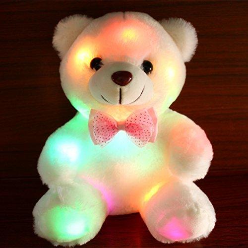 RENNICOCO Glühen-Teddybär mit leuchtenden LED-bunten Nachtlichtern, Kuscheltieren, Geschenken für Kinder zu Ostern, Geburtstag, Halloween-Fest