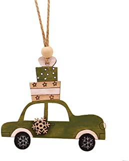 1PC Christmas Wooden Hanging Pendant with Strings,Christmas Tree Wooden Ornaments Hanging Pendant Crafts Decor for Xmas Tree or Home Indoor Decorations,Dog,Car,Christmas Tree (H)