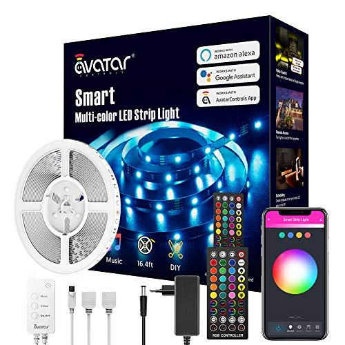 Striscia LED Alexa 5 metri,Smart WiFi RGB Strisce led 12V Compatibile con Alexa e Google Assistant, App Controllato Musica, Multicolore per Decorazioni, Camera da Letto, Cucina, Bar, Festa