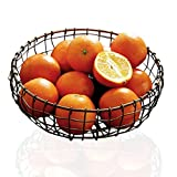 【Versatile Iron Fruit Basket】HINMAY retro farmhouse wire storage basket can be used as a fruit bowl, vegetable storage basket, bread snack basket and desktop debris storage basket etc. Put on the countertop, storage in the cabinet and pantry, display...