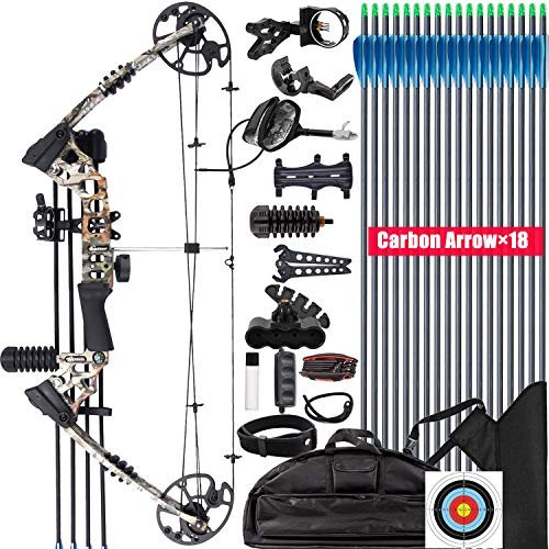 XGeek Compound Bow and Arrow kit, Hunting & Target Bow, with All Accessories, USA-Made Limbs, Draw Weight Adjustable 20-70 Lbs, Draw Length 17-29', 320 Fps Speed,for Hunter and Archery Enthusiast
