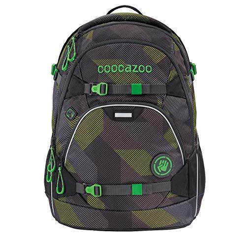 coocazoo Schulrucksack ScaleRale Polygon Bricks Grey grau-grün, ergonomischer Tornister, höhenverstellbar mit Brustgurt und Hüftgurt für Jungen ab der 5. Klasse, 30 Liter