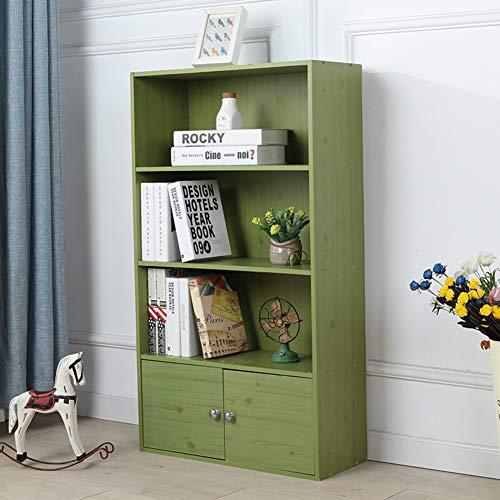 HM&DX Holz Bücherregal Mit türen 3-Tier,Retro Bücherschrank Kabinett Vielseitige Aufbewahrungsregal Für Haus büro-Grün L