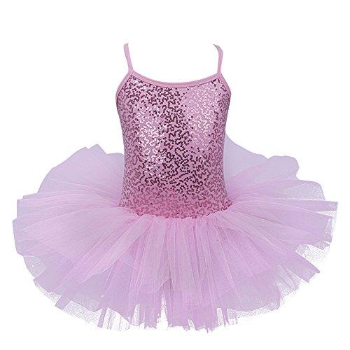 iEFiEL Mädchen Kleid Ballettkleid Kinder Ballett Trikot Ballettanzug mit Tütü Röckchen Pailletten Kleid in Weiß Rosa Türkis (104-110, Rosa)