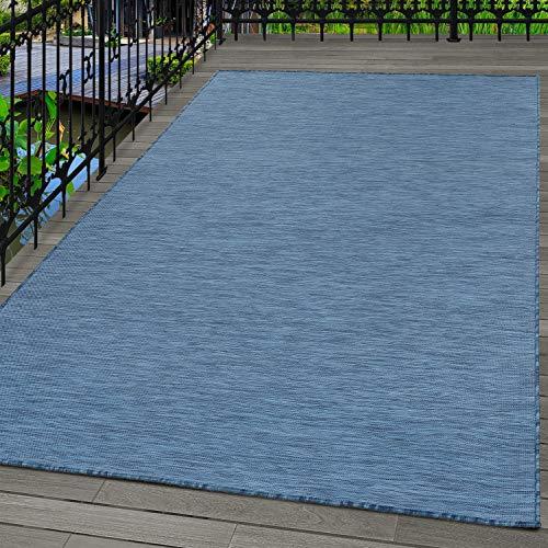 Carpetsale24 Alfombra de Sisal Alfombra de Tejido Plano para Interior y Exterior Azul, tamaño:140x200 cm