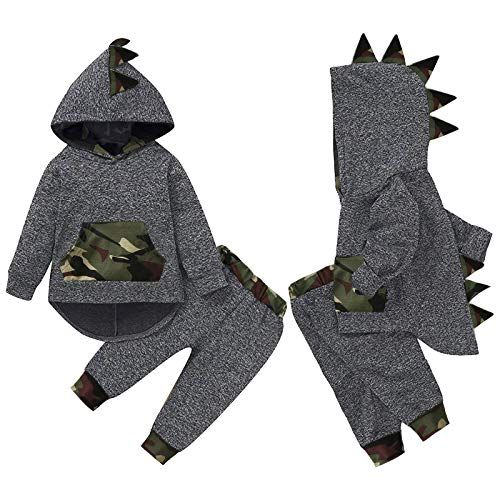 3D Cartoon Dinosaur Outfits Newborn Baby Boys Dinosaur Hoodie Sweatshirt Tops with Pants Dinosaur Pyjamas Sleeping Little Boys Dinosaur Pullover Trousers Tracksuits Kids Dinosaur Sleepwear