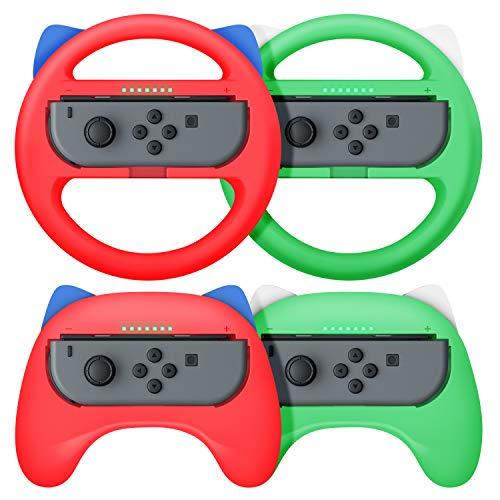 【最新NS Joy-Con専用クリップ&4個お得セット】ハンドル型+ゲームパッド型 マリオカート8 デラックス スイッチレーシングゲーム ハンドル(装着簡単、手触り良い、持ちやすい) Nintendo Switch スイッチ ジョイコン専用ハンドル (レッド/グリーン)
