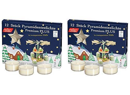 Ebersbacher Kerzenfabrik GmbH EWA raumbox Kerzen Premium PYRAMIDEN TEELICHTE für Advents- & Weihnachtspyramiden | 2x12 Stück | transparente Hülle