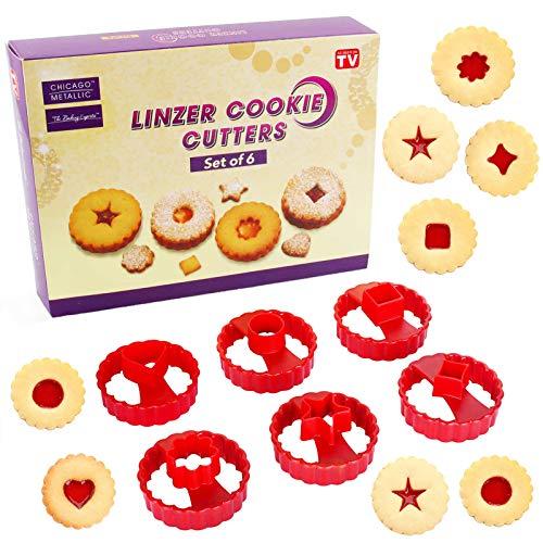 Linz Formine Biscotti Natalizie,6 Pezzi Stampo Biscotti,Tagliabiscotti, per Decorazioni in Fondente, Decorazioni di Dolci di Pasticceria