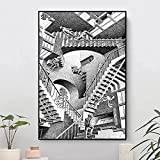 XIANGY Cuadro de lienzo con ilusión gráfica Mc Escher, impresión artística para pared, salón, dormitorio, decoración sin marco (70 x 100 cm)
