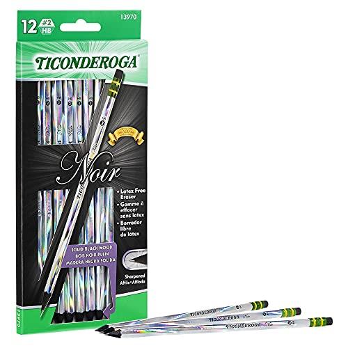 Ticonderoga Noir Black Wood-Cased #2 Pencils, Holographic Design, 12-Count (13970)