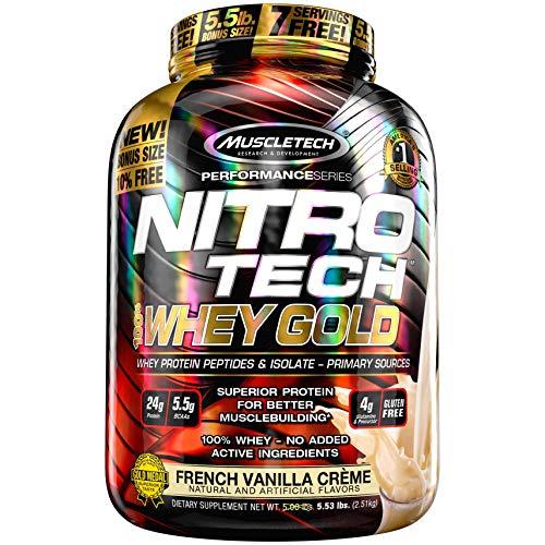 Whey Protein Pulver, MuscleTech Nitro-Tech Whey Gold Protein Isolate & Peptides, Eiweißpulver für den Muskelaufbau, Proteinpulver für Männer und Frauen, Vanille, 2.51 kg (77 Portionen)