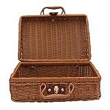 styleinside 1 * Cesta de picnic de mimbre Antigua cesta de picnic de maleta de ratán para coser de pesca, etc.