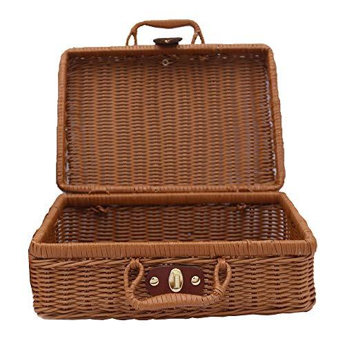 styleinside 1 cestino da picnic in vimini vecchio rattan valigia picnic cestino per pesca cucito ecc.