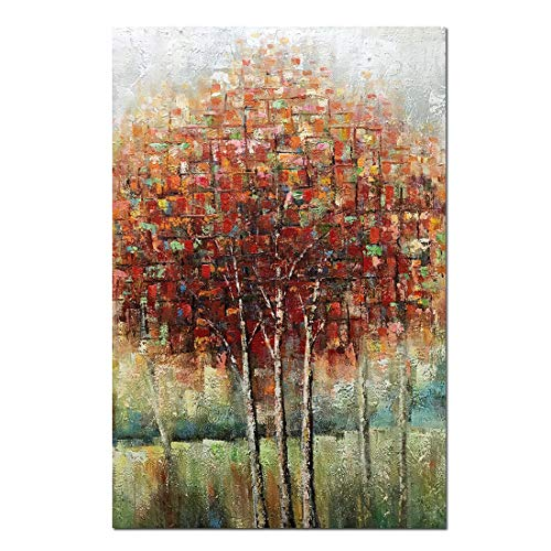 Boiee Art,24x36Inch Hand-Painted Red Birch Trees Vertical Oil Paintings Fall Landscape Artwork Abstract Tree Canvas Painting Modern Home Decor Art Wood Inside Hanging Wall Decoration Oil Hand Painting