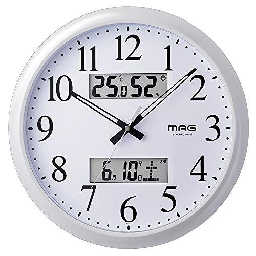 MAG(マグ) 掛け時計 電波時計 アナログ ダブルリンク 環境目安表示機能付き 温度 湿度 日付 曜日表示 ホワイト W-711WH