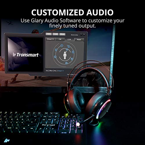 Gaming Headphones for PC, upgraded Tronsmart Glary Dolby 7.1 Surround Sound USB Plug Gaming Headset with Microphone, Noise Cancelling Over Ear Headphones Gaming Headset for Nintendo Switch Gamer