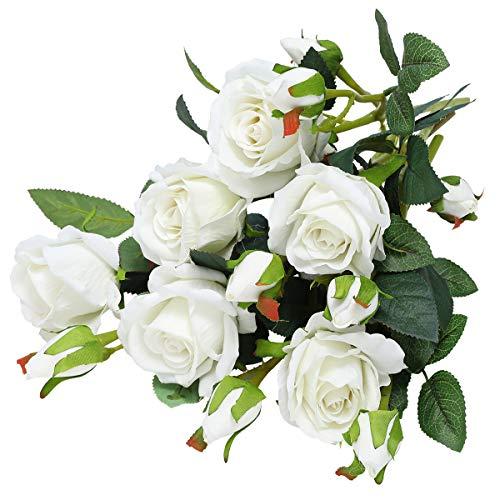 Hawesome 6 Künstliche Rosen Kunstblumen Kunstrosen Flanell rot weiß Rose Dekoration Hochzeit Blumenstrauß Raum Ausgestaltung Blumenarrangement Garten Party Büro Blumenschmuck 18 Rosenköpfe