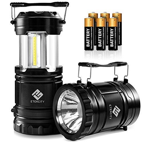 Etekcity Paquete de 2 linternas LED de camping con pilas 2 en 1 de luz de linterna plegable, color negro, 5.5 x 3.3 pulgadas.
