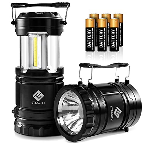 Etekcity 2 Pack LED Camping Lantern Battery Powered Flashlights Portable 2-in-1 Collapsible Lantern Lights, Survival Light for Hiking, Fishing, Reading, Hurricane, Storms, Power Outage 3