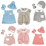 DC-BEAUTIFUL 6 Set Girl Dolls Clothes Gift for 14 Inch 18 Inch Newborn Baby Dolls, Includes Doll Outfits Dress Hat Socks, Total 14 Pcs Doll Onesies Clothes Pajamas Costumes
