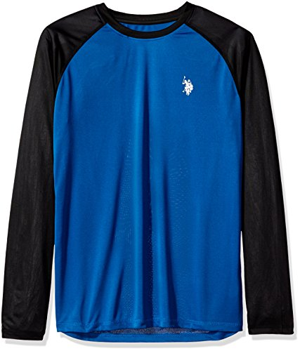U.S. Polo Assn. Mens Long Sleeve UPF Swim T-Shirt, China Blue, L